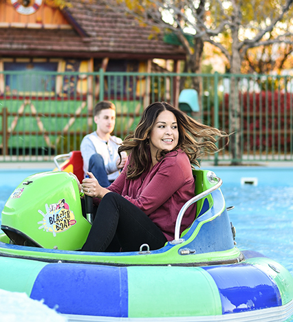 Young Lady Riding Bumper Boats