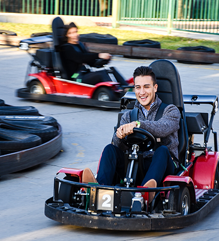 Young Man Riding Go Kart
