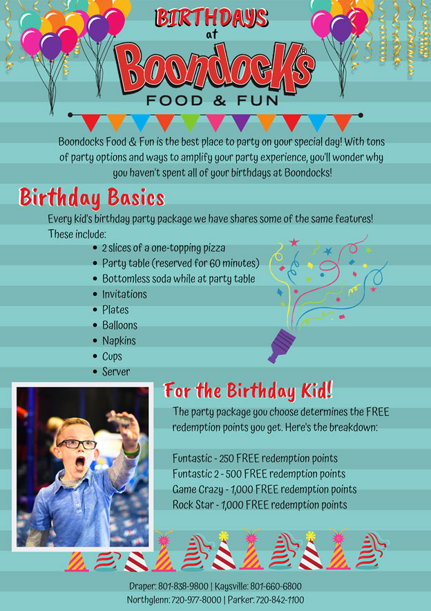 Birthdays at Boondocks (1) | The Best Kids' Birthday Parties Happen at Boondocks | Boondocks Food & Fun